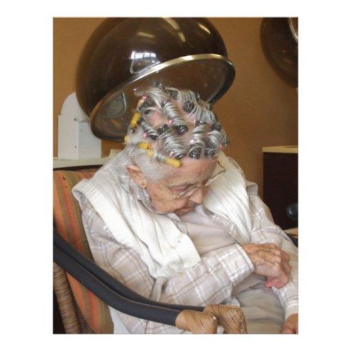 LIttle Old Lady Sleeping Under Hair Dryer Customized Letterhead