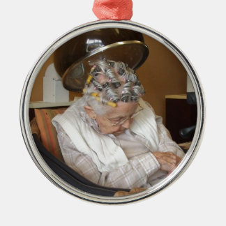 LIttle Old Lady Sleeping Under Hair Dryer Metal Ornament