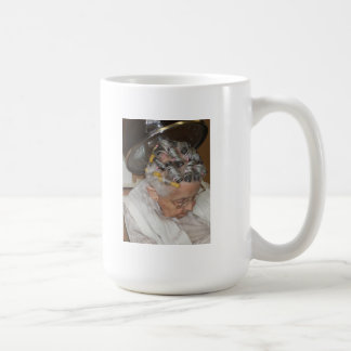 LIttle Old Woman Asleep under hair dryer Coffee Mug