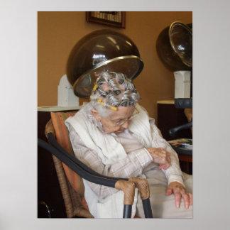 Little Old Woman Asleep Under Hair Dryer II Poster
