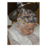 Little Old Woman Asleep Under Hair Dryer Print