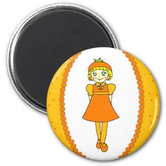 Little Orange Fruit Girl 2 Inch Round Magnet