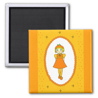 Little Orange Fruit Girl 2 Inch Square Magnet