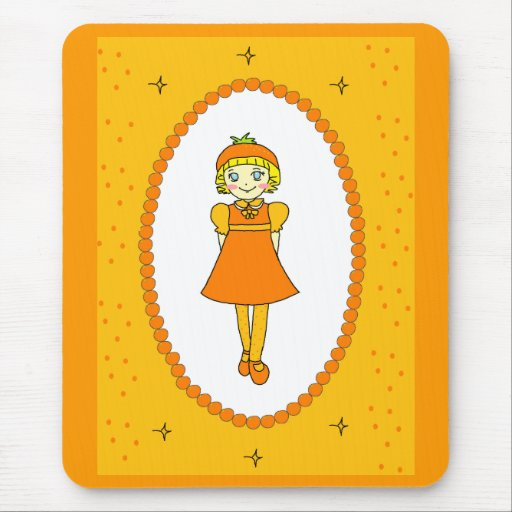 Little Orange Fruit Girl Mouse Pad