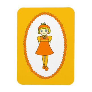 Little Orange Fruit Girl Rectangular Photo Magnet
