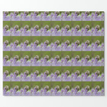 Little owl and bluebells wrapping paper