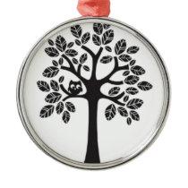 Little Owl Big Tree Metal Ornament