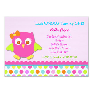 Little Owl Birthday Party Invitations