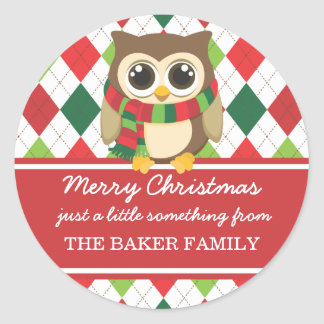 Little Owl Christmas Gift Tags Classic Round Sticker