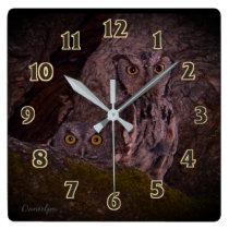 Little Owl Friends Square Wall Clock