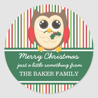 Little Owl Mistletoe Christmas Gift Tags Sticker