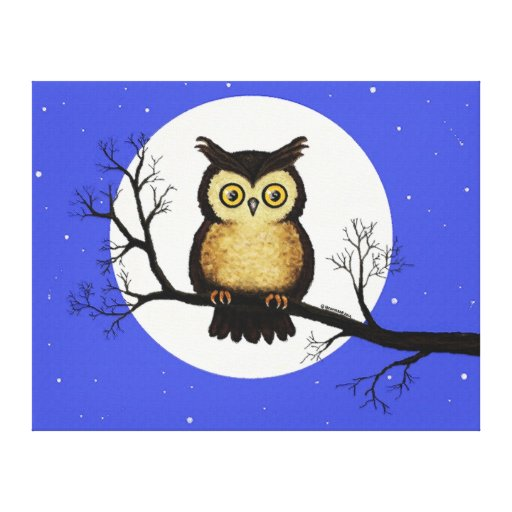 Little Owl On a Branch Stretched Canvas Prints