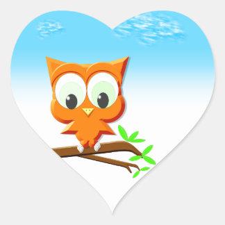 Little Owl on a Branch Heart Sticker