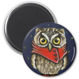 Little owl on ice magnet