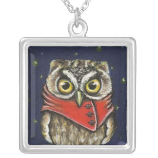 Little owl on ice square pendant necklace