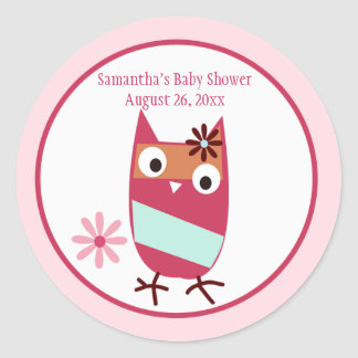 Little Owl Personalized Baby Shower Favor Stickers