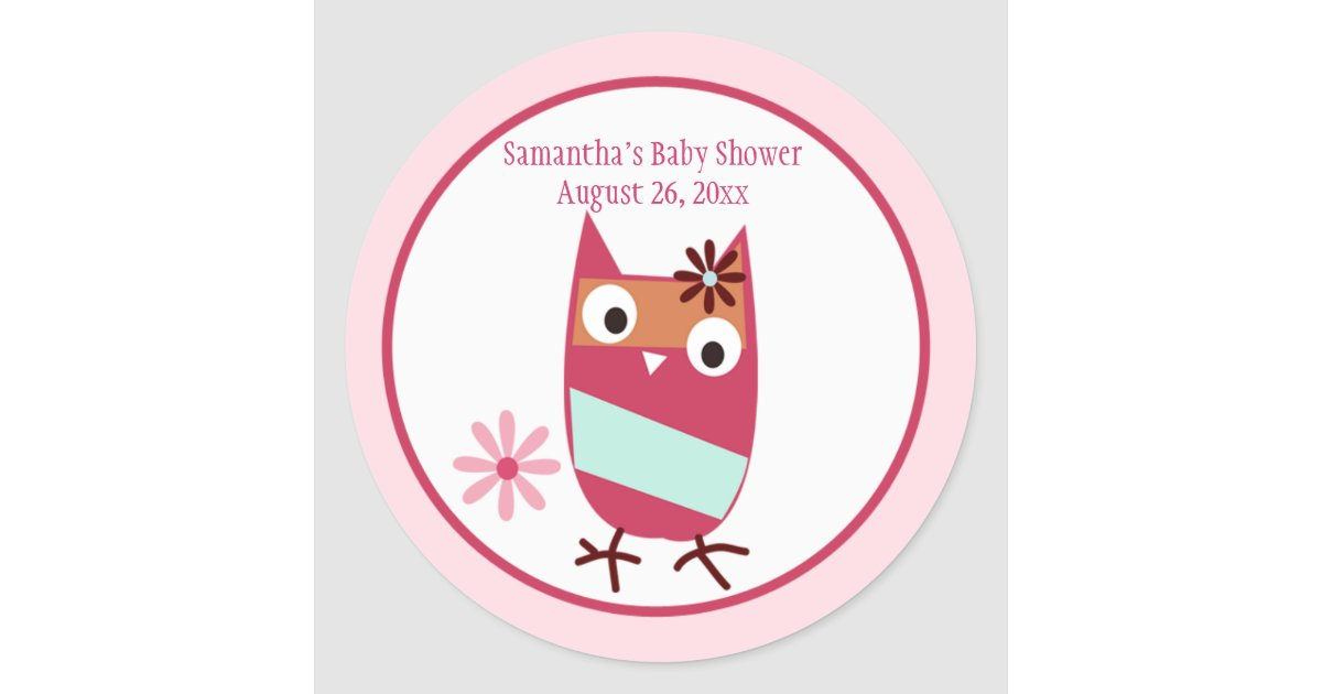 little owl personalized baby shower favor stickers zazzle