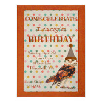 LITTLE OWL POLKADOT Birthday Invitation