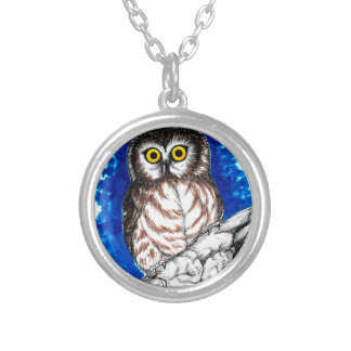 Little Owl Round Pendant Necklace