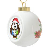Little Owl Santa Ceramic Ball Christmas Ornament