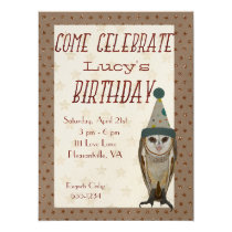 LITTLE OWL STARS Birthday Invitation