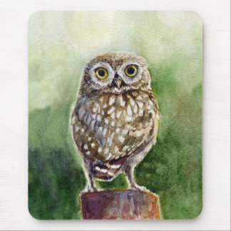 Little owl watercolor painting mouse pad