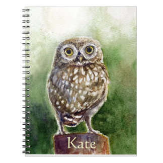Little owl watercolor painting notebook