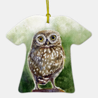 Little owl watercolor painting ornament