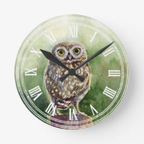 Little owl watercolor painting round clock