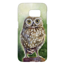 Little owl watercolor painting samsung galaxy s7 case