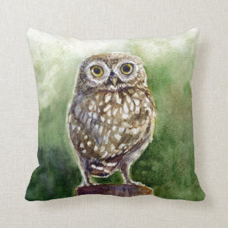 Little owl watercolor painting throw pillow