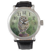 Little owl watercolor wrist watch