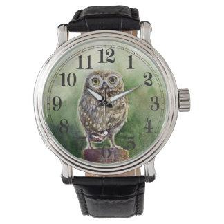 Little owl watercolor wrist watch