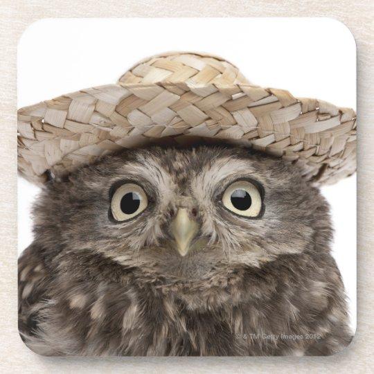 Little Owl wearing a straw hat - Athene noctua Beverage Coaster