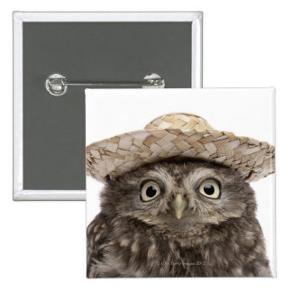 Little Owl wearing a straw hat - Athene noctua Button