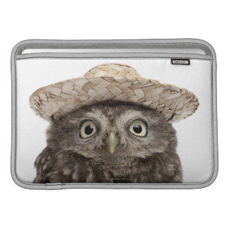 Little Owl wearing a straw hat - Athene noctua Sleeves For MacBook Air