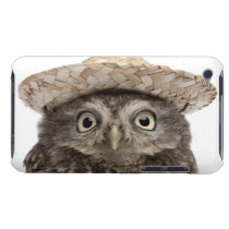 Little Owl wearing a straw hat - Athene noctua iPod Touch Cover