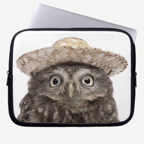 Little Owl wearing a straw hat - Athene noctua Laptop Sleeve
