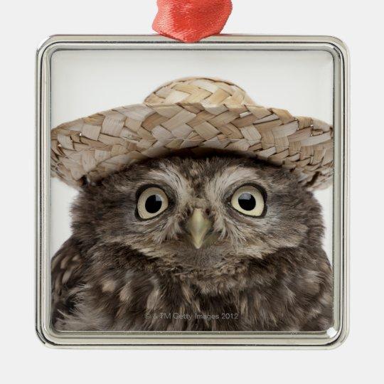 Little Owl wearing a straw hat - Athene noctua Metal Ornament