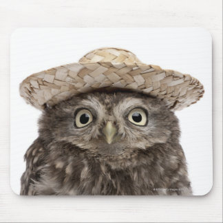 Little Owl wearing a straw hat - Athene noctua Mouse Pad