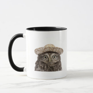 Little Owl wearing a straw hat - Athene noctua Mug
