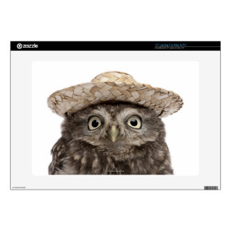 Little Owl wearing a straw hat - Athene noctua Laptop Decal