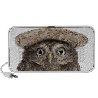 Little Owl wearing a straw hat - Athene noctua Travel Speakers