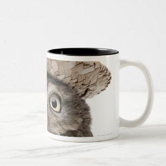 Little Owl wearing a straw hat - Athene noctua Two-Tone Coffee Mug