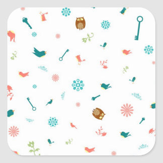 Little Owls and Birds Square Sticker