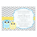 Little Owls Baby Shower Invitation, boy 5x7 Paper Invitation Card