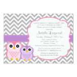 Little Owls Baby Shower Invitation, girl 5x7 Paper Invitation Card