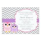Little Owls Baby Shower Invitation, girl Card