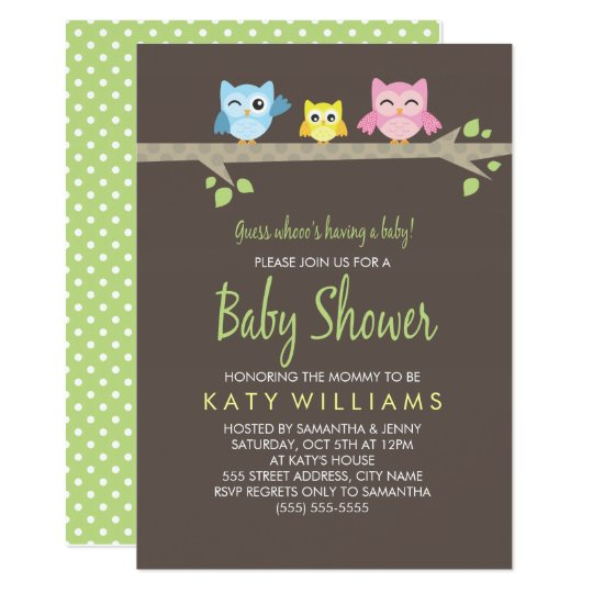 Little Owls Baby Shower Invite Zazzlecom