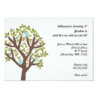 Little Owls in Tree 3rd Birthday Party Invitation